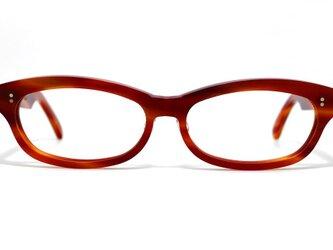 男性向け赤と茶色マーブル生地のセルロイドメガネ048-FFの画像