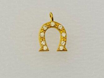 【アクセサリートップ】馬蹄・丸環付き・金の画像