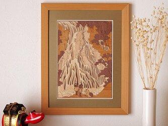 木はり絵「下野黒髪山きりふりの滝」の画像