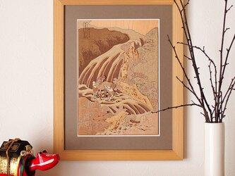 木はり絵「和州吉野義経馬洗滝」の画像