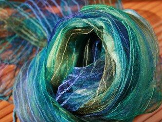 シルク100% 手染めストール blue-01の画像