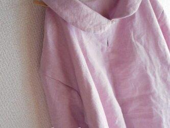 【受注製作/9.21再販売】W55リネン丸襟七分袖ブラウスプルオーバー★ピンクパープルの画像