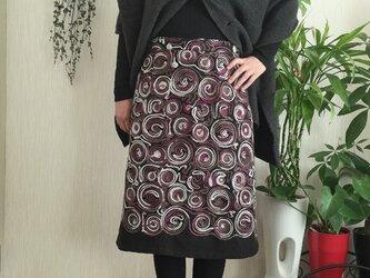 イタリー製 モヘアコード刺繍生地Aラインスカートの画像