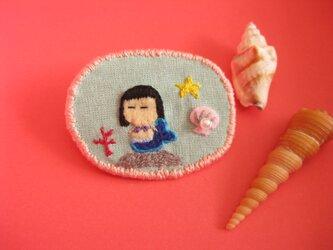 人魚姫<布ブローチ(刺繍ブローチ)>の画像