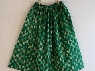 緑市松 ギャザースカート Fサイズ2の画像