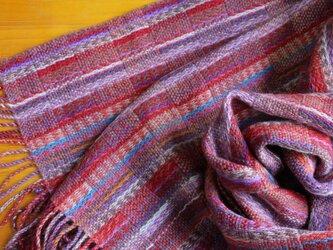 手織のストール 赤蘇芳(あかすおう)の画像
