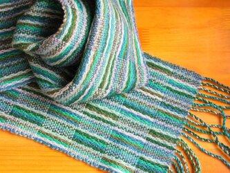 手織のマフラー 翠(みどり)の画像