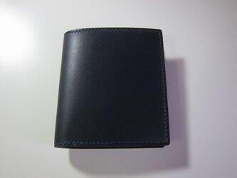 二つ折り財布 コンパクト(ネイビー)の画像