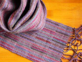 手織のマフラー 中紫(なかむらさき)の画像