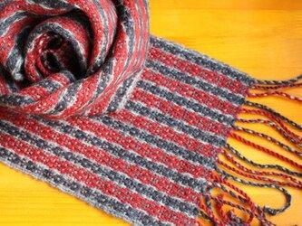 手織のマフラー 錆朱(さびしゅ)の画像