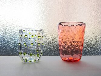 M様:水玉グラスピスタチオ+ストロベリーシャーベットグラスの画像