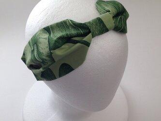 moss greenのハワイアンのリボンターバンの画像