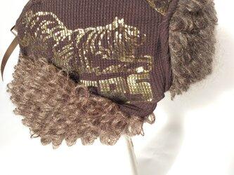 ゴールドなタイガーxモヘアのアビエーター帽の画像