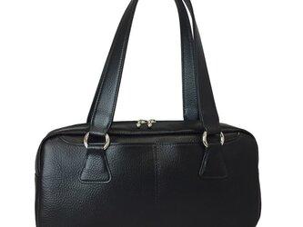 オール牛革 本革バッグ 横長ボストンバッグ リアル シュリンクレザー ブラックの画像