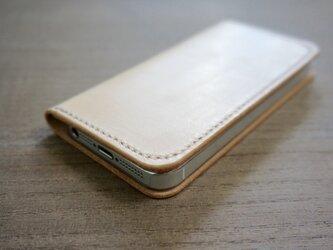 牛革 iPhone5/5sカバー  ヌメ革  レザーケース  手帳型  ナチュラルカラーの画像
