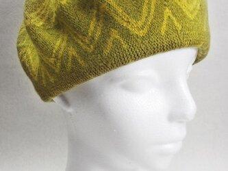 Sサイズ・ベレー帽(からし色・ギザギザな円)の画像
