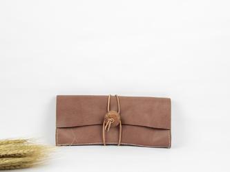 本革 クラシック風長財布&クラッチバッグ ♪茶色♪ の画像