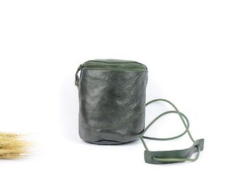 本革 かわいい半円筒形ポシェット&ショルダーバッグ ♪緑色♪の画像