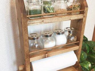 3段kitchen paper shelf 全茶 キッチンペーパー スパイスラックの画像