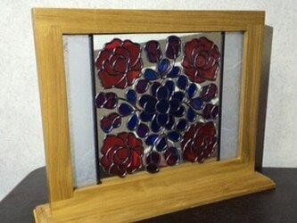赤い薔薇のミニ衝立*グラスアート作品の画像