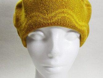 Sサイズ・ベレー帽(オレンジ色・フラワーなライン)の画像