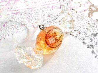【受注生産】ロゴ入りキャンディのペンダントトップ・オレンジゼリー(トップのみ・ネックレス・キーホルダー・ストラップが選べます)の画像