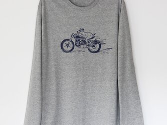 イヌくんTシャツ長袖 gray ×navyの画像