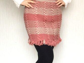 ポンチョにもなるアラン模様のスカートの画像