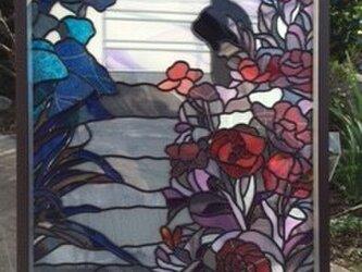 黒猫と風景の飾り額*グラスアート作品の画像
