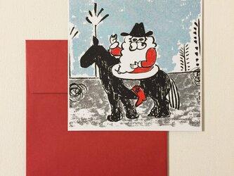 封筒付きカード カウボーイサンタ 2セットの画像