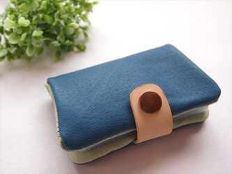 【定番ブルー】ぶた革やわらかカードケース【受注生産】161005の画像