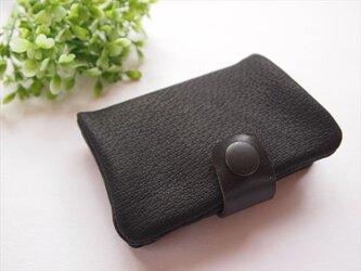 【定番ブラック】ぶた革やわらかカードケース【受注生産】の画像