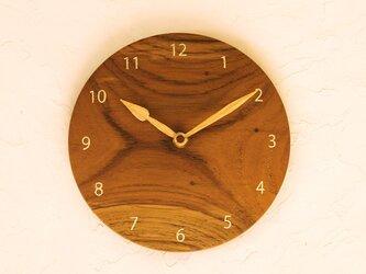 掛け時計 丸 チーク材⑪の画像