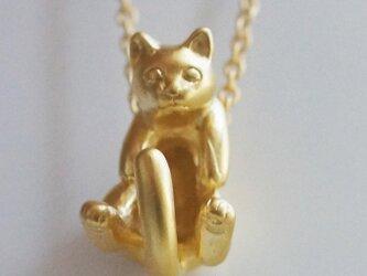 グリとラテュの猫ペンダント ラテュ(マットゴールド)の画像