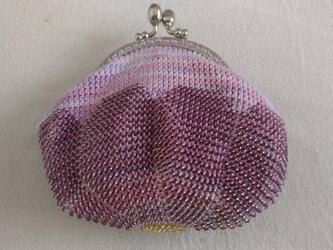<再出品>ビーズ編みがま口ポーチ 花の画像