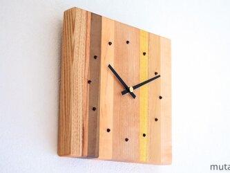 寄せ木の壁掛け時計 四角 5の画像