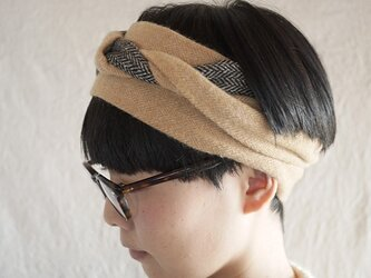 patchwork turban<mustard tone>の画像