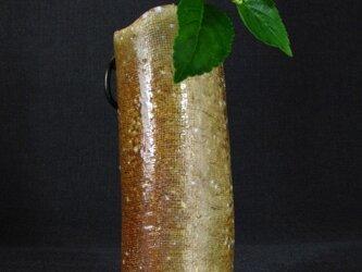 【送料無料】花器 焼締め筒形花生け 陶芸家オリジナル陶器(29)の画像