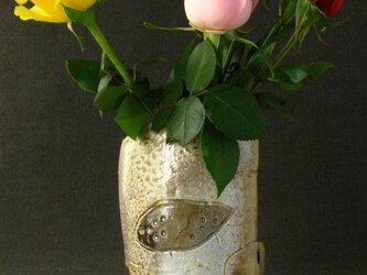 【郵送無料】花器 焼締め足付花生け 陶芸家オリジナル陶器(24)の画像