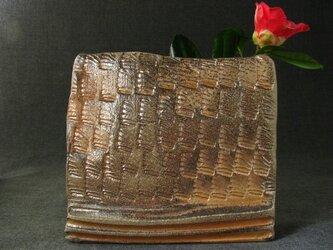 【送料無料】陶器 花器 型押し花生け 陶芸家オリジナル(45)の画像