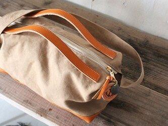 nomad-mini・タン(タンニン染帆布×レザーショルダーバッグ)の画像