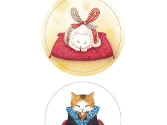 お手紙シール3枚セット 福助猫と水引猫の画像