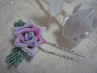 三角バラのかんざし purple & pinkの画像