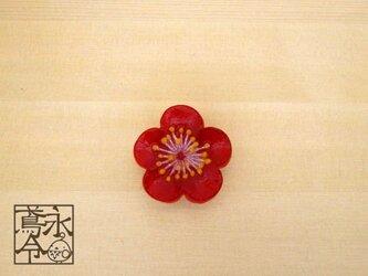 帯留 赤色の梅の画像