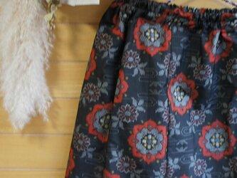大島紬 赤丸紋 お出かけスカートの画像