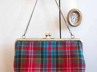 ウールのタータンチェック キスロック金具のバッグの画像