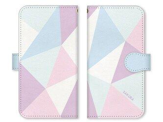 手帳型 三角 模様のスマホケース トライアングル ベルト:パステル系 水色の画像