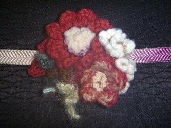 大正ロマン♪椿の花丸★帯留めorブローチの画像