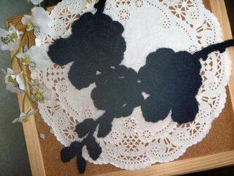 アルパカ40%♪お花のニットネックレス★ブラックの画像