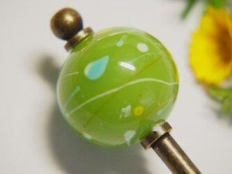 水風船模様とんぼ玉のかんざし 黄緑の画像